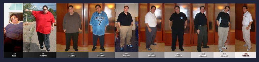 Изменение веса Джонатана от 204 кг до 91 кг