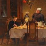 В.Е.Маковский. Мальчик и женщина, пьющие чай