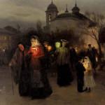 Художник Пимоненко Н.К.  Выход из церкви в Страстной четверг